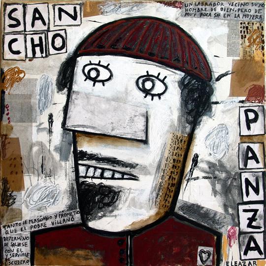 Sancho Panza: Un labrador vecino suyo, hombre de bien pero de muy poca sal en la mollera... tanto le persuadió y prometió que el pobre villano determinó de salirse con él y servirle de escudero...