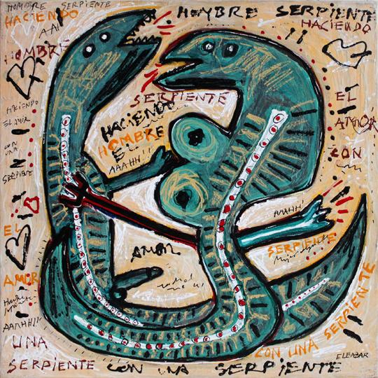 Hombre serpiente haciendo el amor con una serpiente